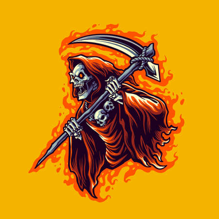 illustration grim reaper cartoon vector for merchandise sticker and clothing line brands Ilustração