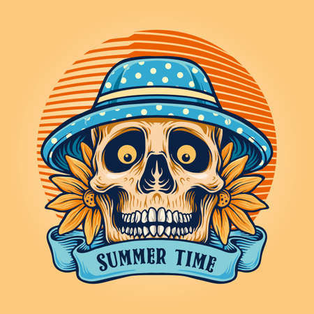 Summer Time Sugar Skull with Banner for merchandise clothing line and sticker