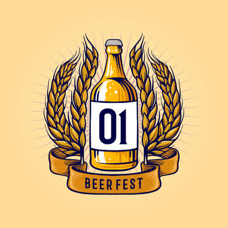 Vintage Beer Fest Bottle with banner and Wheat Illustrations Stock Illustratie