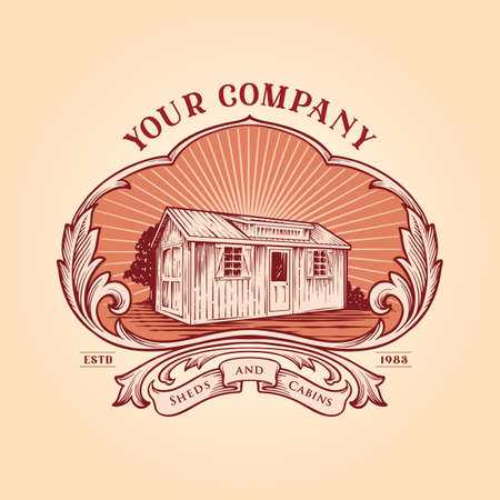 Shed Cabins Frame Logo Vintage Your business Company