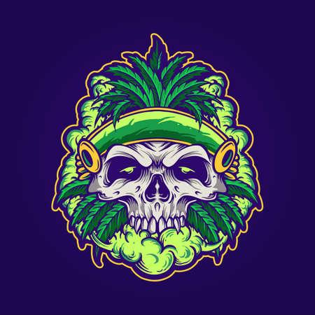 Illustrations marijuana leaf skull with smoke for logo mascot Merchandise Logos