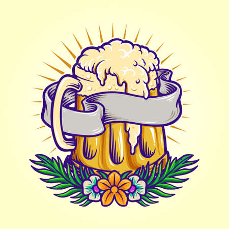 Illustrations for Summer Beer Party With Flowers and Ribbon