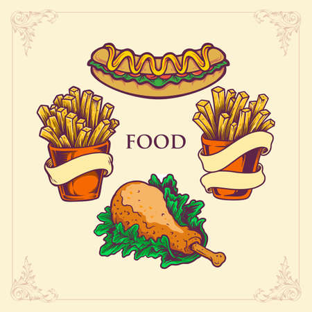Fast food set, hot dog, french fries. Chicken Made in cartoon hand draw. Vector illustration