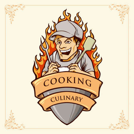 Cooking man Chef Smile Illustrations with ribbon for restaurant, cage, hotel , bakery