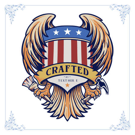 Illustrations Badge Wing crafted with banner american vintage