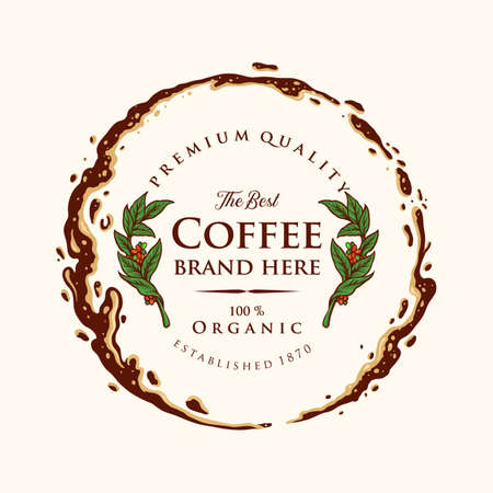 Badge Coffee Label Premium Ring Splashed Illustrations for coffee shop and cafe Иллюстрация