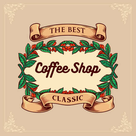 Coffee Shop Classic with Vintage ribbon for menu cafe, restaurant