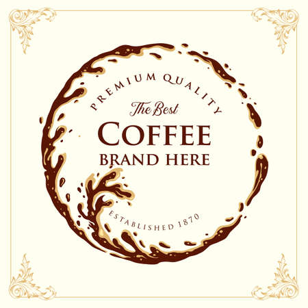 Ring Splashed Coffee Brand Quality premium for coffee shop, restaurant, cafe and merchandise