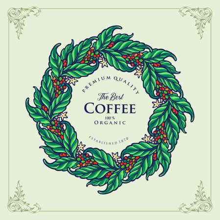 Illustrations Premium The Best Coffee leaf Organic for cafeeshop, cafe, restaurant and merchandise Иллюстрация