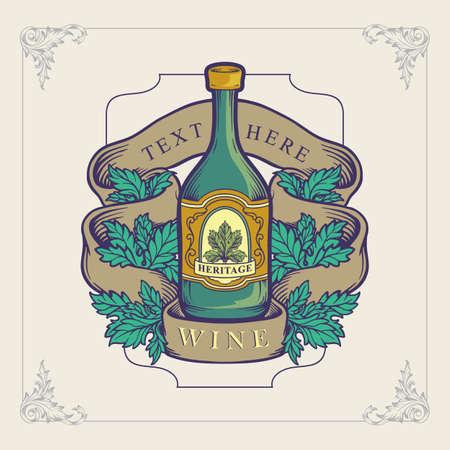 bootle wine for heritage logo illustration vector design