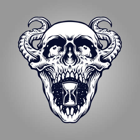 Demon Skull Zombie Tattto and merchandise clothing Line and stickers mascot.
