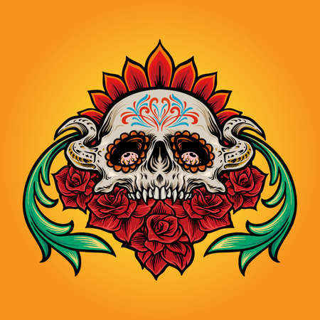 Mexican Sugar Skull Muertos with Flowers Illustrations for clothing line merchandise and poster advertising party culture