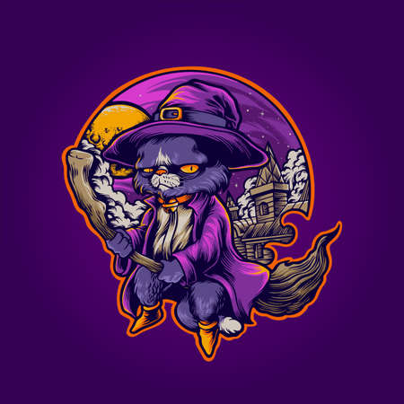 Hogwarts Cat Withcraft shaman Illustrations for halloween merchandise and clothing line stickers