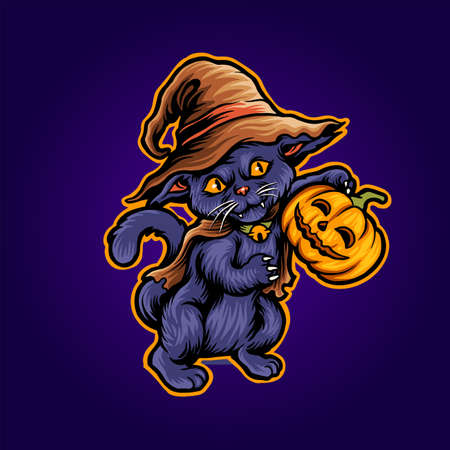 Cat Halloween Scary Pumpkins witch Zombie Illustrations for merchandise and clothing apparel stickers Ilustracja