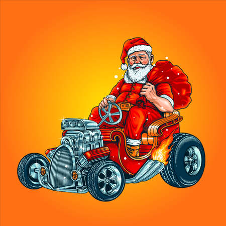 Hot Rod Riding Santa Claus With gift Bag illustrations for your work mery christmas merchandise unique