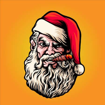 Merry Christmas smoking Santa Claus Artwork Illustrations for your mascot merchandise business gretting xmas