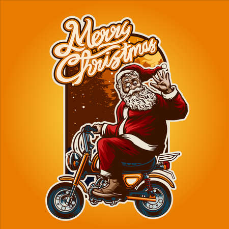 Merry Christmas Smiley Santa Claus Bikers riding Illustrations with Background for your work merchandise and poster advertising