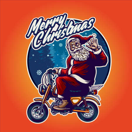 Santa Claus Bikers heading Merry Christmas Illustrations for your work merchandise clothing line and poster, greeting advertising