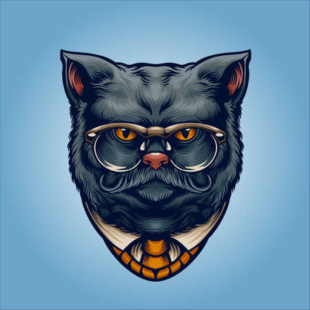 grey Cat gentleman with sunglasses for your work merchandise clothing line, stickers and poster, greeting cards advertising business company or brands
