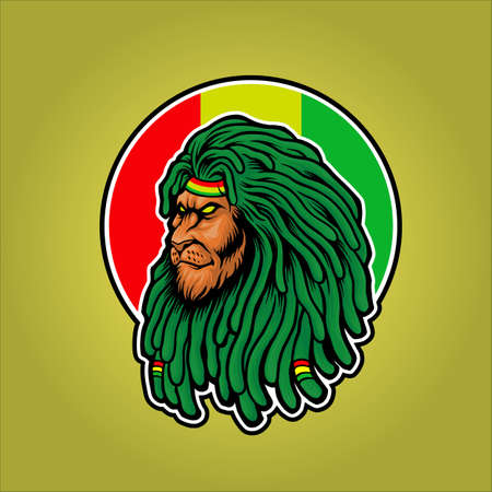 Dreadlocks Head Lion Rasta Mascot for your work merchandise clothing line, stickers and poster, greeting cards advertising business company or brands