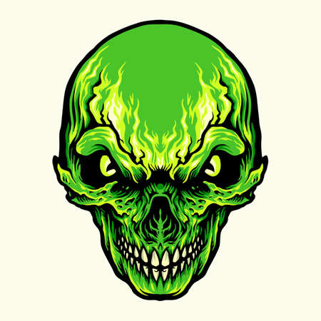 Head Angry Green Skull illustrations for your work Logo, mascot merchandise t-shirt, stickers and Label designs, poster, greeting cards advertising business company or brands.