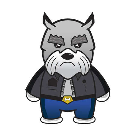 Angry schnauzer in cop costume.