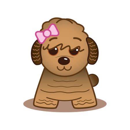 Havanese with pink bow Illustration