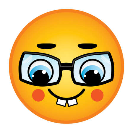 Nerd smiley with glasses and cheeks network