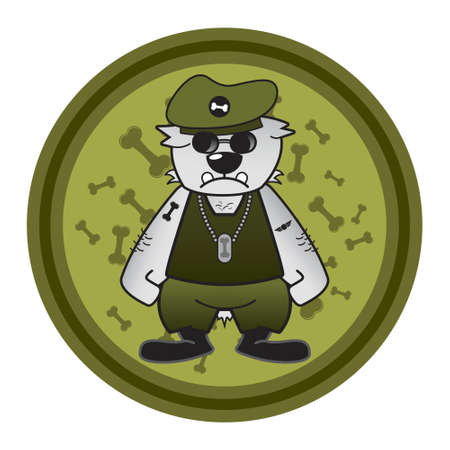police dog: Dog in military costume