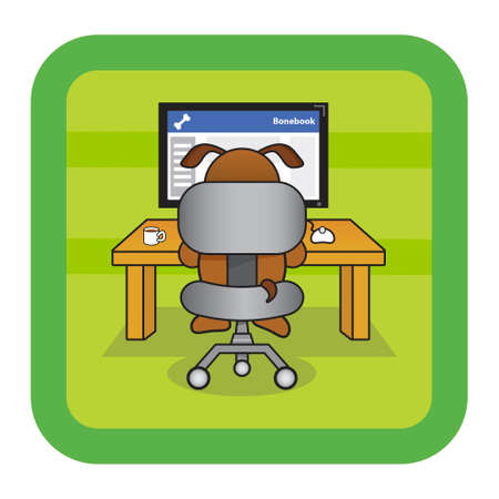 Dog using a computer and social network Illustration