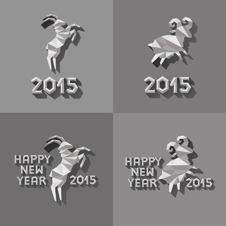 Polygonal golden ram sheep symbol of year illustration