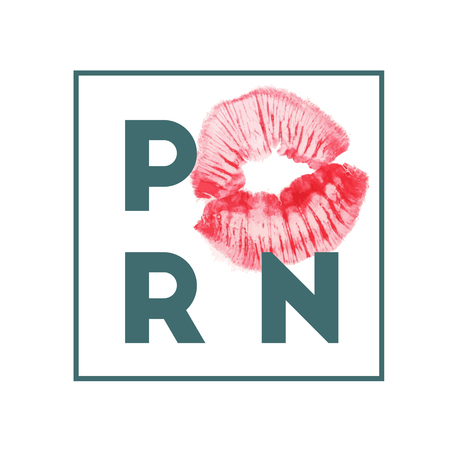 Pornograghy sign icon. Adults only content symbol. White flat icon with kiss lips print. Vector illustration.