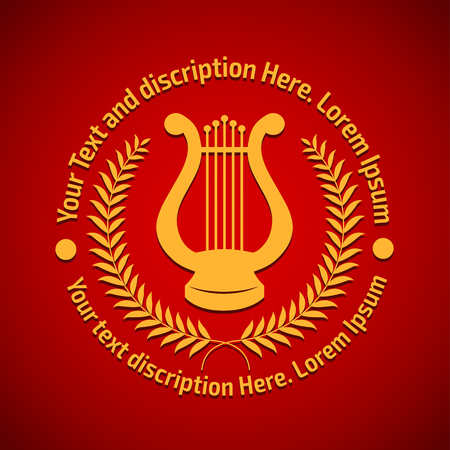 Vector illustration concept of philharmonic logo with lyre. Gold on red background Vettoriali