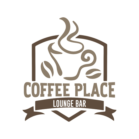 Vector illustration concept of coffee logo. Brown on beige background 矢量图像