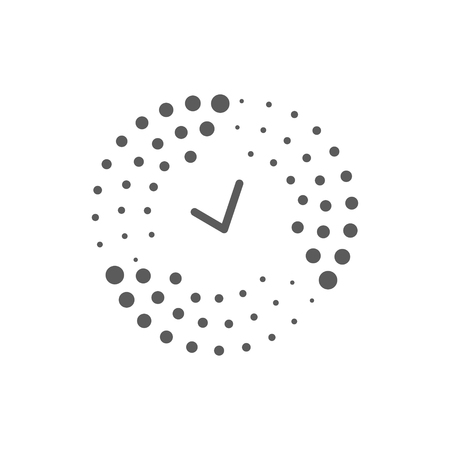 Abstract halftone dots and time logo for technology business company concept vector illustration