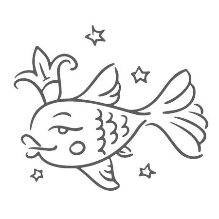 Vector illustration concept of golden fish with crown. Black on white background Ilustração