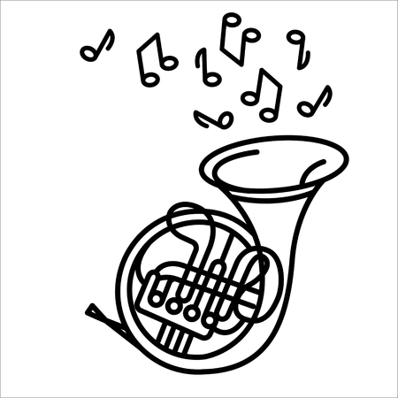 Vektorillustrationskonzept des Waldhornmusikinstruments. Schwarz auf weißem Hintergrund Vektorgrafik