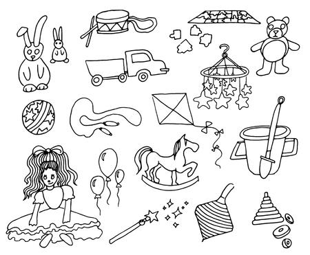Ilustración de vector dibujado a mano de juguetes para niños sobre fondo blanco