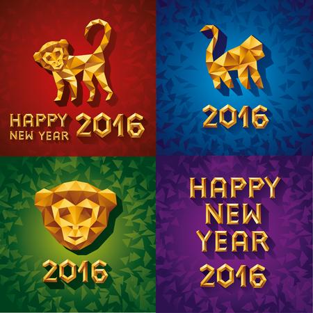 Vector illustration concept of gold polygonal monkey. Symbol of 2016