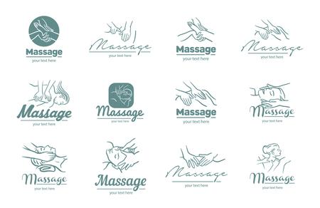 Logo vectoriel d'illustration de processus de massage sur fond blanc