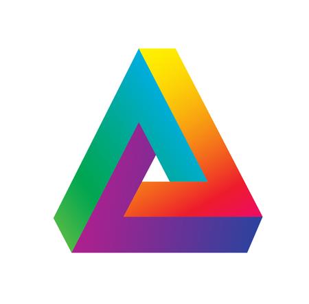Triangle logo isometric, infinity sharp corner geometric shape illusion, hipster monogram converge overlapping line infinite icon, innovation tech delta emblem Logo