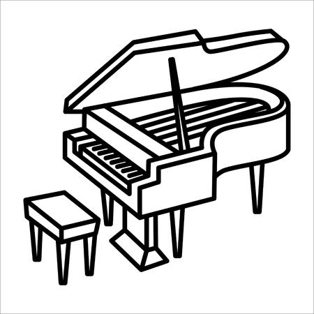 Illustration vectorielle de piano instrument de musique icône