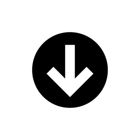 Vector illustration concept of download icon. Black on white background