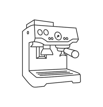 Vector illustration concept of Coffee machine. Black on white background Stock Illustratie