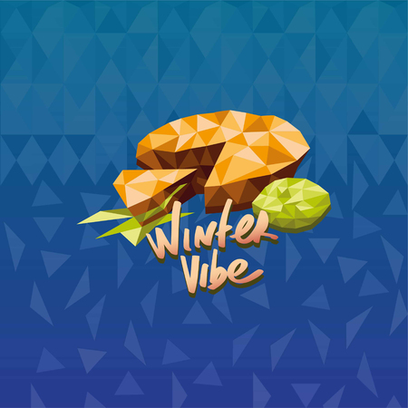 Vape lemon pie flavor illustration in triangle abstract style vector