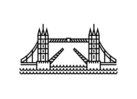 Vector illustration concept of Tower Bridge icon. Black on white background