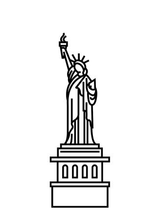 Wektor ilustracja koncepcja ikony Statua wolności. Czarny na białym tle