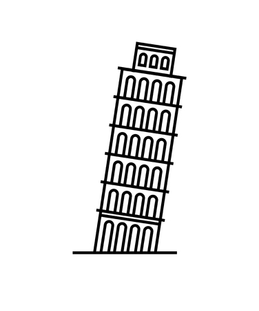 Pisa Tower icon Vector Illustration on the white background isolated.