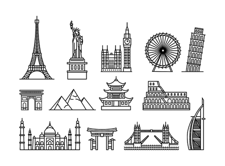 Vector illustration concept of famous touristic buildings. Black on white background