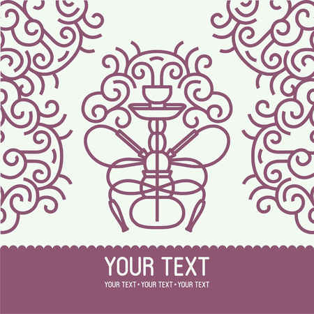 Hookah symbol illustration with text vector logo icon